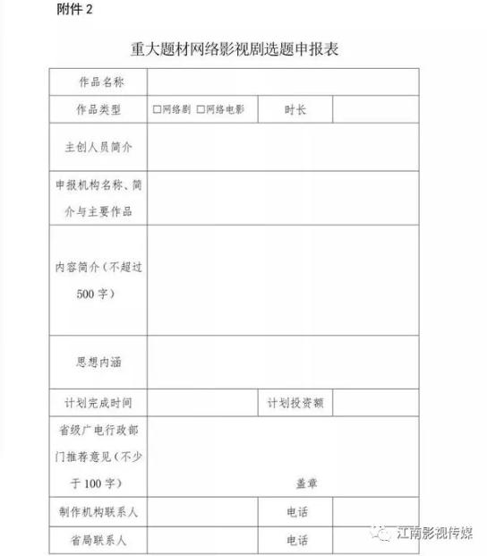 重大题材网络影视剧选题申报表